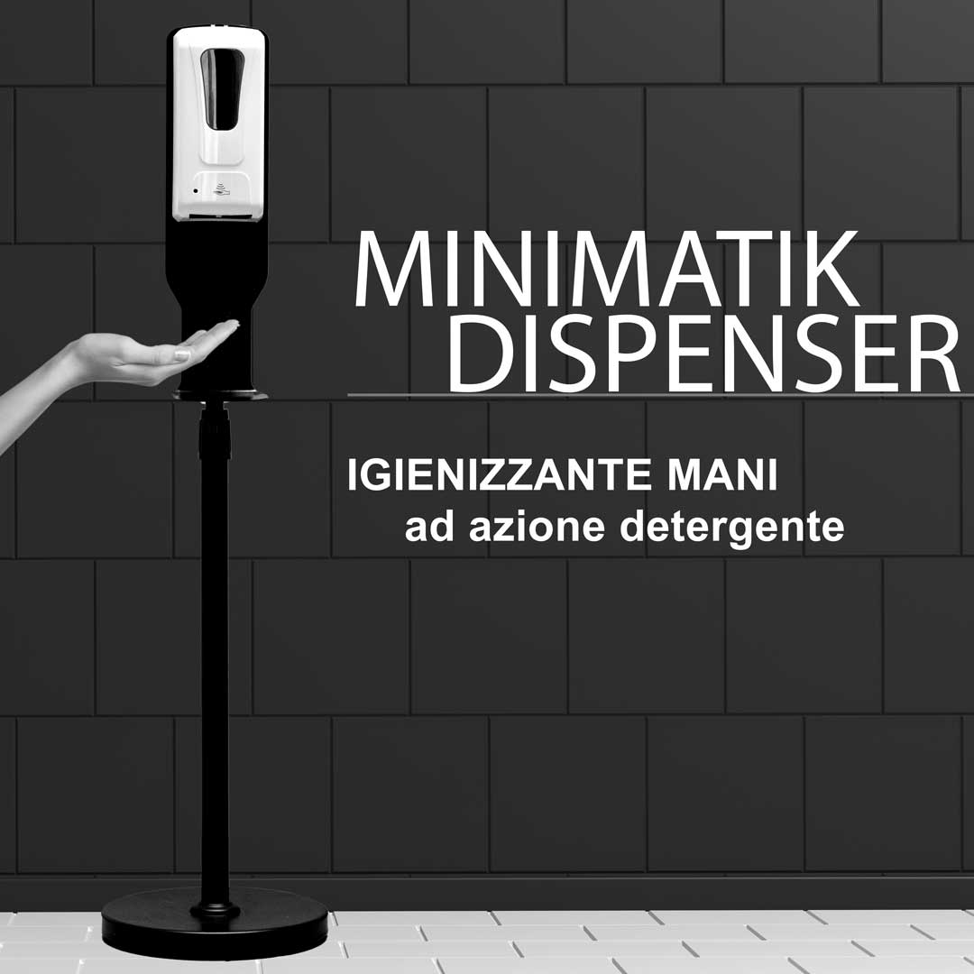sanitizing hands with dispenser