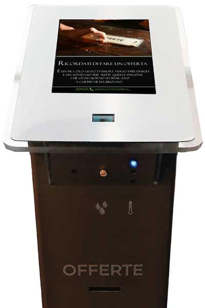 acquasantiera, acqua santa, michelangelo, cassetta offerte, misurare temperatura, acquasantiera digitale